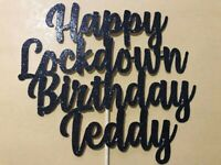 LockDown Birthday Cake Topper Any Name/Age/Word/Any Colour Personalised Black