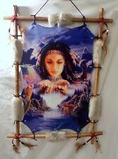 "New Beautiful Indian Girl Water & Animal Theme Wood Frame Dream Catcher 22"" x 16"