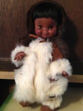 "ESKIMO DOLL VINTAGE 15"" 1965 JOLLY TOYS DRESSED IN SUEDE & FUR"