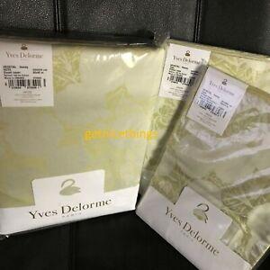 $815 Yves Delorme Vegetal Queen Duvet Cover Shams 3PC Set Honey Jacquard Sateen