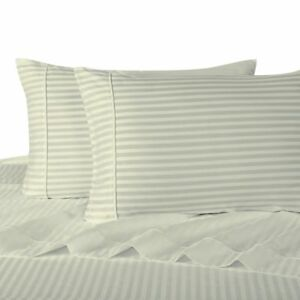 Modern 100-Percent Cotton Damask Striped Bed Sheets with 300 Thread Count