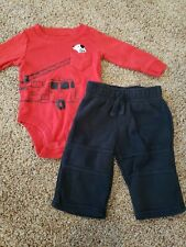 Baby Boy Outfit Size 6 Months, Firetruck Shirt, Black Pants