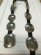 Navajo Nickel Silver Turquoise Large Concho Belt 10 Pieces Stunning Look # 2
