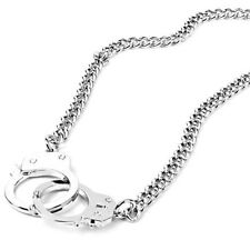 Silver Chain with Handcuffs Pendant Necklace K4Y9