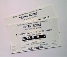 RARE Bryan Adams Memorabilia - Unused Tickets / Stubs NEC Birmingham 03/03/02