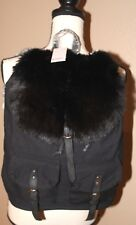 Women's Candies BLACK Back Pack Style Purse BackPack Tote Bag FUR & POCKETS NWT