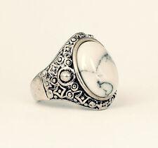 Tibetan White Stone Silver Ring-Bohemian Jewellery-Vintage Boho Jewelry-Aztec