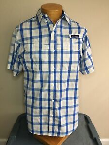 Columbia PFG Vented Blue White Flannel Fishing Shirt Men's Small