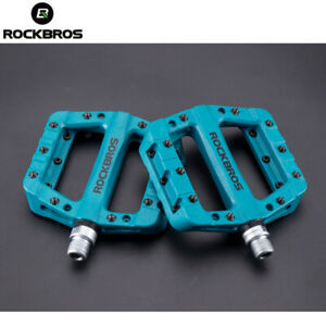 RockBros Mountain Bike Bearing Pedals Wide Nylon Pedals Platform One Pair Blue