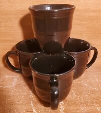 "Mainstays RICH BLACK Mug set(s) of 4, 4"" / 14 oz, Stoneware, Embossed Rings, EUC"