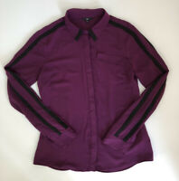 CUE Size 8 Long Sleeve Button Up Blouse Deep Purple Contrast Sleeves Stripes