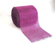 "Diamond Rhinestone Mesh Ribbon Wrap Roll Wedding Party Trim 4.5"" x 10 Yard, Pink"