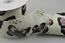 🦋 Natural Cream Butterfly Burlap Ribbon with Frayed Edges 60mm