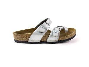 Birkenstock Mayari Slide Sandals Silver Leather Kids Size 32