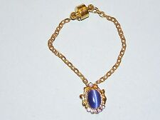 """Royal Blue Catseye Cabochon Pendant Necklace for Ellowyne and other 16"""" dolls"""
