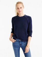NWT~J CREW NAVY CHUNKY COTTON Ribbed Women's Sweater~S (4-6)~Brand NEW w/ TAGS