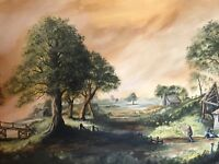 Fine 20th Century Wall Art Oil Painting English Wiltshire Countryside Landscape