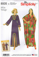 Vtg 70s Caftan Dress Kimono Sleeve Midriff Sewing Pattern Sz 10 12 14 16 18 20