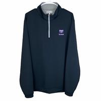 Peter Millar 1/4 Zip Pullover Sweater XL Navy Blue Gray Crown Stretch Totem Golf