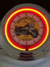 """MOTORCYCLE Sales & Service Neon 12"""" Wall Clock Glass Face Chrome-like Finish"""