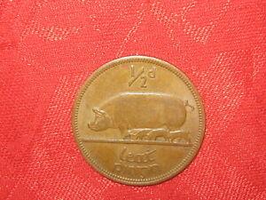 One Antique Vintage Copper Irish Celtic Ireland Pig/Harp Half Penny Coin Coins
