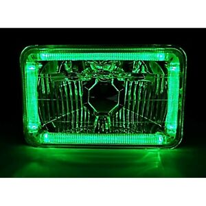 Single 4X6 Green Halo Angel Eye Halogen H4 Bulb Headlight Crystal Clear Headlamp