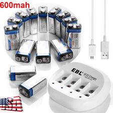 Lot 600mAh 9V Li-ion Rechargeable Batteries 4slots 9-Volt Battery 6F22 Charger