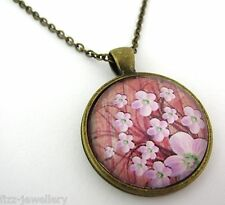 Pink Blossom Flowers Design Bronze Pendant Glass Necklace New in Gift Bag