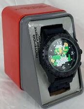 Men's Nintendo Super Mario Bros Watch Luigi 8 Bit Black Rubber Band Wristwatch
