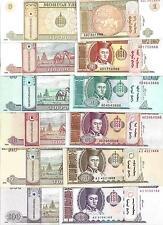 MONGOLIA 6-SET 1 5 10 20 50 100 TUGRIK 2000-2008 UNC P 61A 61B 62b 63c 64a 65a