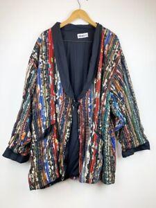 We Be Bop Womens Jacket Multicolor Patchwork Knot & Loop Shawl Lapel Plus 1X