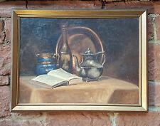 Naturaleza muerta con Libro y vino. Original antiguo Pintura al óleo +
