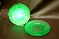 "Vintage Set of 4 Etched Floral Green Vaseline Glass 8"" Sandwich Dessert Plates"