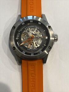New Stuhrling Original Automatic Men's Orange Band Watch CAL.ST-90050 20 JEWELS