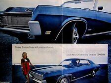 "1969 Mercury Cougar Convertible 390 cu Original Print Ad 17 x 11"" centerfold"