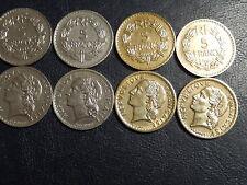 LOT DE 4 PIECES 5 FRS LAVRILLIERS 2 BRONZE/ ALU DE 1940 /46 ET 2 NICKEL1933/35