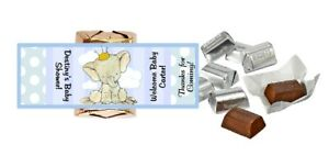 30 BABY BLUE ELEPHANT PERSONALIZED HERSHEY'S NUGGET WRAPPERS SHOWER PARTY FAVORS
