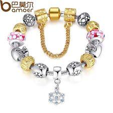 European Gold Plated Glass Bead Charm Bracelet , Free Gift Box/USA Seller
