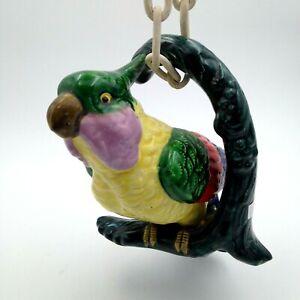 Vintage Parrot Bird on Vine Hanging Planter Life Size 3D Ceramic Ceramic Chain
