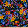 BTY Timeless Treasures PANSY & LILY Bouquet Black Print 100% Cotton Quilt Fabric