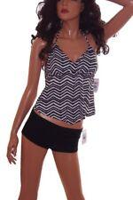 Womens Beach Tankini Swimsuit Bathing Suit 2 Piece Black Shorts CHEVRON M NEW