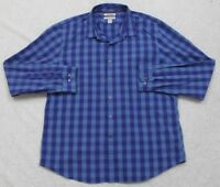 Goodthreads Blue Dress Shirt XXL Button Up Slim Fit Cotton 2XL Men's Checks Top
