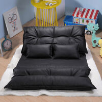 Full Size Pu Leather Sofa Bed Adjustable Video Gaming Sofa with 2 Pillows