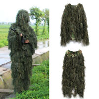 4pcs/Set Camo Ghillie Suit 3D Woodland Forest Camouflage Hunting Costume