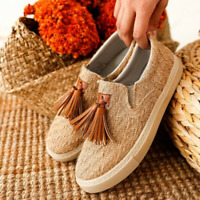 Women Flat Tassel Comfort Loafers Slip On Round Toe Casual Shoes US 4.5-10.5