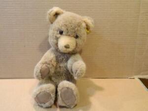 """Steiff Mohair Teddy Bear 8 1/2"""" High w/ Button & Glass Eyes Vintage"""