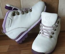 WOMENS WHITE LEATHER TIMBERLAND ANKLE BOOTS WITH PURPLE DETAIL SIZE UK 3