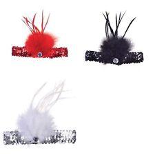 Black Sequin Feather Headband 20s1920s Fancy Dress Charleston Brow Band Flapper