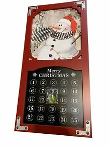Enchanted Forest Snowman Countdown Wood Magnetic Wall Christmas Calendar  New