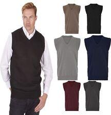 Mens Plain V Neck Sleeveless Slipover Sweater Boys Golf Knitted Jumper Tank Top